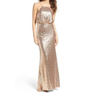 Lulu's Strappy Sequin Blouson Gown
